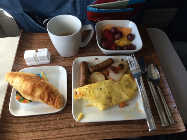 Breakfast in first class comes on real china, with real silverware.