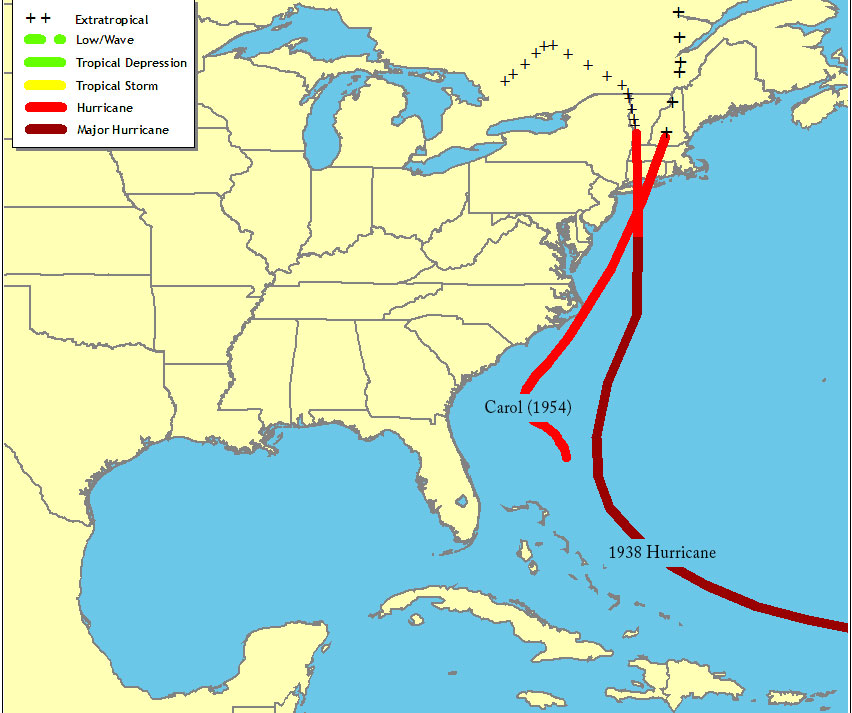 Two hurricane tracks from 1938 and 1954 each affected New England, but their local impacts were quite different. Maps courtesy http://www.nhc.noaa.gov