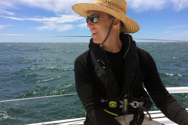 Paul sailing Kincora to woods hole June 2017