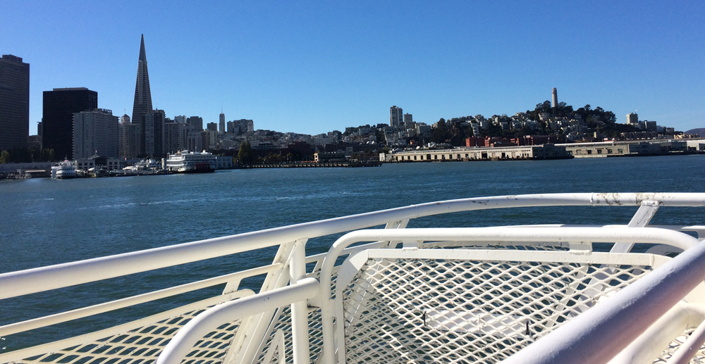 San Francisco city front from high speed ferry Larkspur