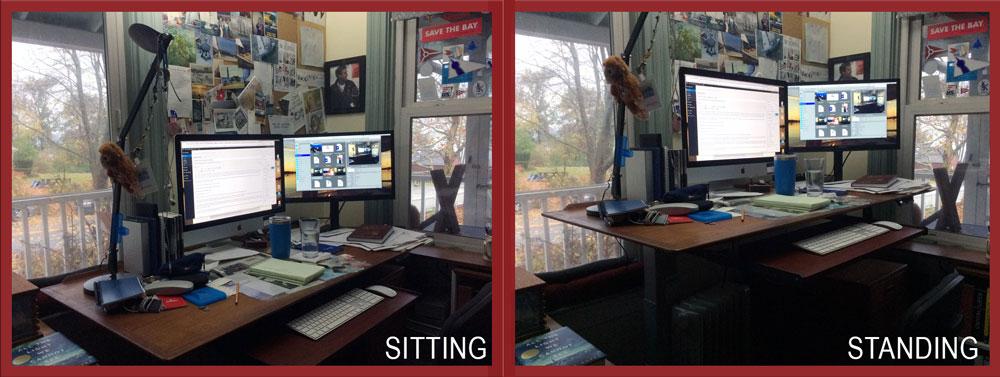 standing desk conversion electric teak