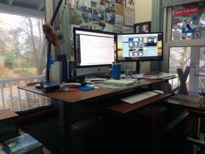 standing desk conversion teak electric