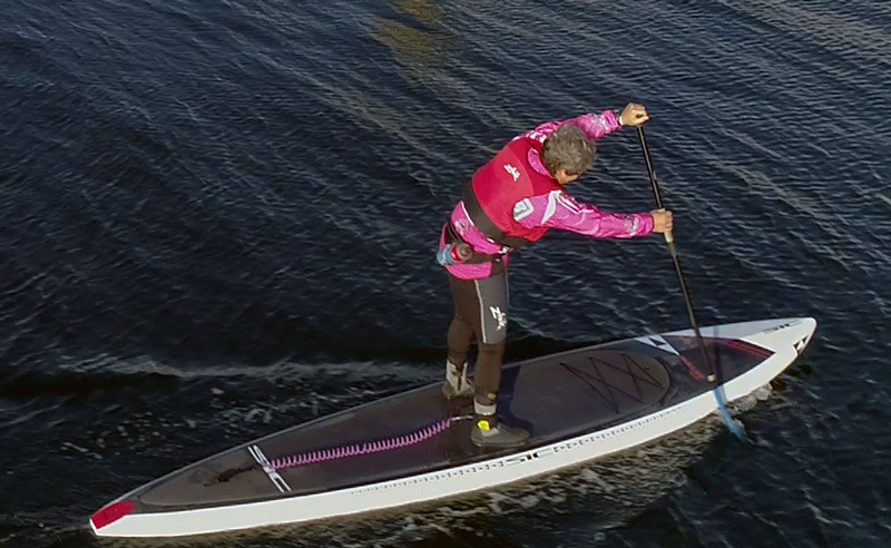Paddling SIC SUP photo from drone by Paul Cronin Studios